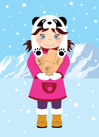 suede: Sweet girl with gifts, sending the mountains in the background. Cartoon girl in a hat with a panda print. The festive mood, Christmas Illustration