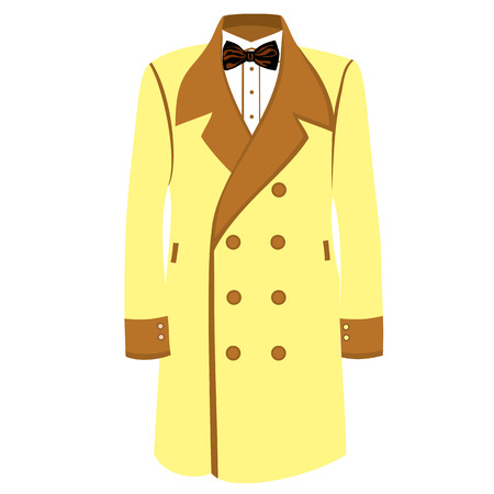 men's: Mens classical coat  illustration. Sand color businessman coat with bowtie and white shirt. Mens fashion Illustration