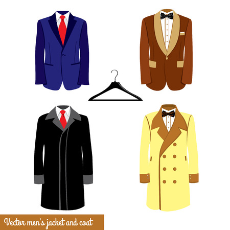 broun: Mens classical suit illustration.Blue and broun businessman suit with red neck tie or black bowtie and white shirt. Mens jacket and coat, plastic hanger.Mens fashion Illustration
