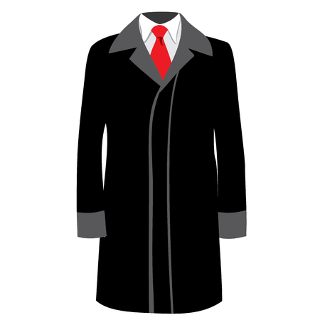 white coat: Mens classical coat illustration.Black businessman coat with red neck tie and white shirt. Mens fashion