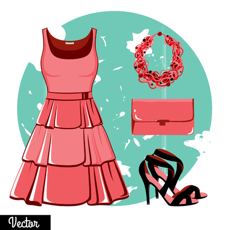 Illustration stylish and trendy clothing. Pink evening dress, clutch bag, accessories, high-heeled shoes, sandals. Fashion illustration. Cocktail dress, classical dress