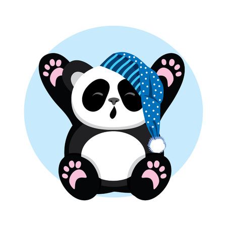 oneself: Sleepy Panda in the cap yawns and stretch oneself. Character cute and bear. illustration