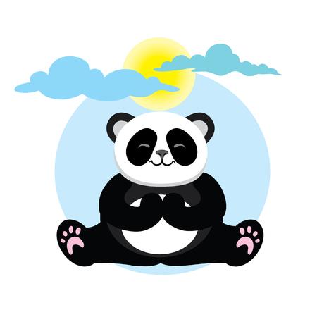 yogi: Character cute and beautiful panda practice of yoga. illustration