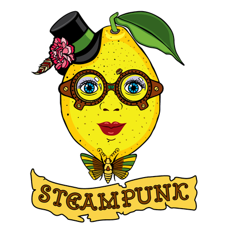 Mrs. Lemon drawing in the style of steampunk. It can be used as logo, illustration for your business image for t-shirts and other apparel. Illustration