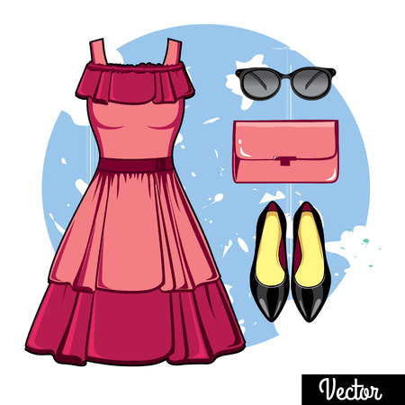 cleavage: Illustration stylish and trendy clothing. Pink evening dress with open shoulders, clutch bag, high-heeled shoes. Fashion vector illustration. Cocktail dress, classical dress
