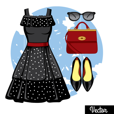 footwear: Illustration stylish and trendy clothing. Black polka-dot dress with open shoulders, evening dress, red bag, accessories, high-heeled shoes. Fashion vector illustration.