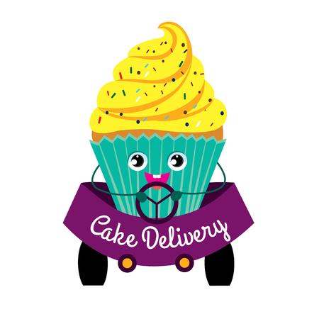 Cakes, delivery, coloured picture. Cake while driving. Production and delivery of cakes. Color flat illustration on white background. Illustration