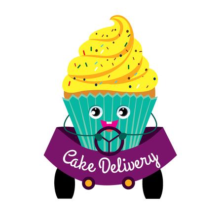 Tortas, la entrega, la imagen de color. Torta mientras se conduce. Producción y entrega de pasteles. Ilustración plana de color sobre fondo blanco. Ilustración de vector