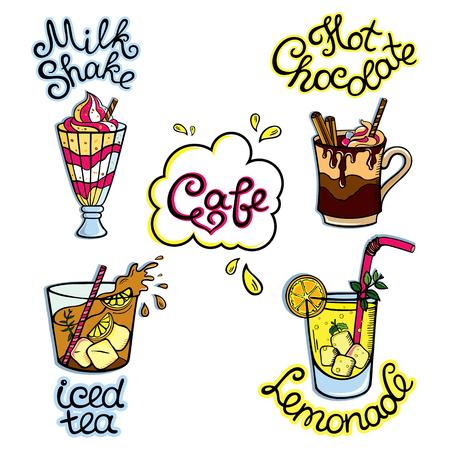 Serie di cibo cartone animato: bevande analcoliche - iced tea, tisane, cioccolata calda, milk shake, limonata e così. illustrazione, isolato su bianco.