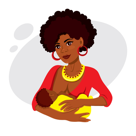 Young African-American mother holding her newborn baby child in her arms breastfeeding  イラスト・ベクター素材