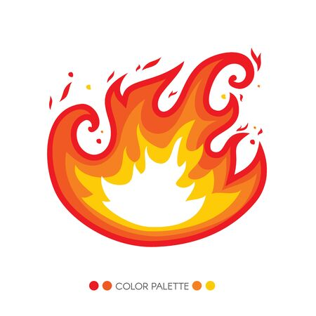 fuel, outdoor, website, isolated, decoration, blaze, flaming, caravan, hose, white, curl, vivid, passion, red, sign, camp, yellow, vector, symbol, bonfire, fiery, orange, light, graphic, element, flammable, burn, abstract, emblem, flat, icon, energy, flam Illustration