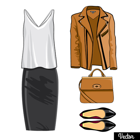 leather bag: Illustration stylish and trendy clothing.Leather jacket, leather narrowed skirt, shirt, high heels shoes and stylish bag. Silhouette made in modern flat vector style. Fashion vector Illustration