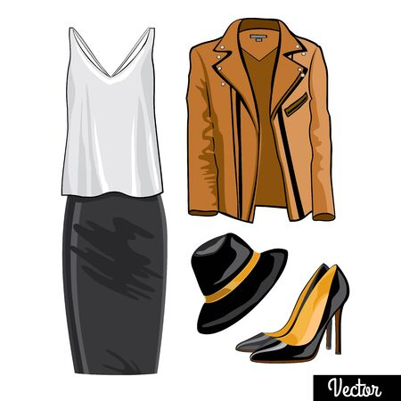 Illustration stylish and trendy leather jacket, narrowed skirt, shirt, high heels shoes and stylish hat.