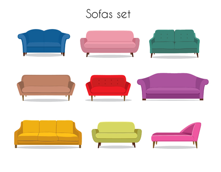 settee: Sofa colored vector set. Comfortable couch collection isolated on white background for interior design. Collection of sofa illustration