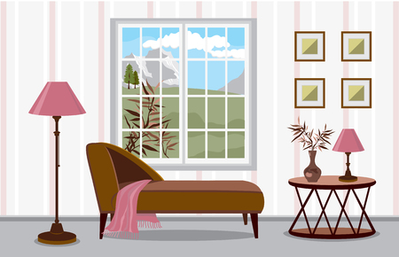 Sofa by the window with a view of the mountains. Modern interior in scandinavian style with bright accents. A tea table with flowers and a lamp. Vector illustration of a living room with large windows