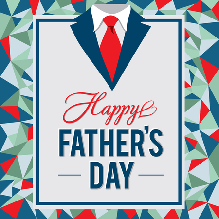 Happy Father's Day greeting card. Vector illustration.Father's day design over low poly background