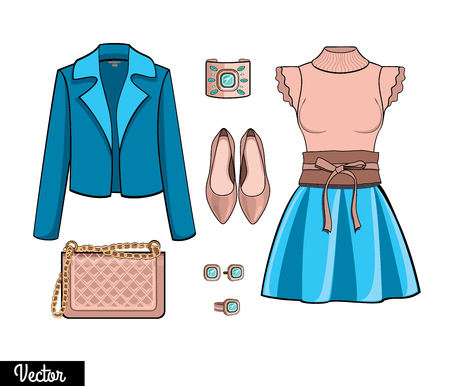 Lady fashion set of autumn, spring winter season outfit. Illustration