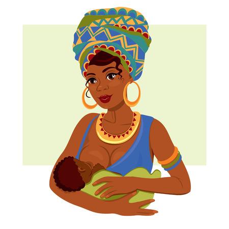 Giovane madre afro-americana che tiene il suo bambino appena nato tra le braccia l'allattamento al seno. Vettoriali