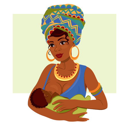 Young African-American mother holding her newborn baby in her arms breastfeeding. Vektoros illusztráció