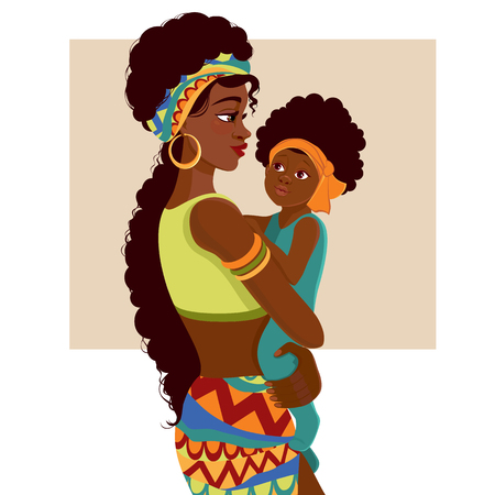 Beautiful young African-American woman of black mother and baby in cartoon style. Çizim