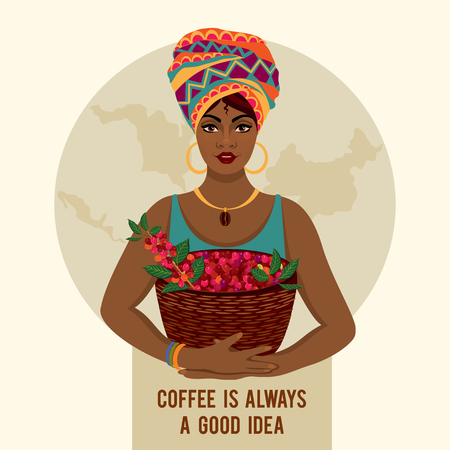 African woman is a coffee farmer with a basket of coffee berries on the farm. Woman in traditional African clothes