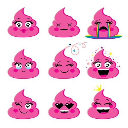Conjunto de icono de emoji rosa y glamour con expresión de la cara diferente Emoticones Poop smileys vector collection. Emociones o señales de vectores de emociones caca.