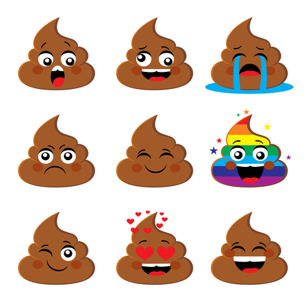 Set van poo shit emoji pictogram met verschillende gezichtsuitdrukking Kak emoticons smileys vector collectie. Emoties of kak emoties vector tekenen Stock Illustratie