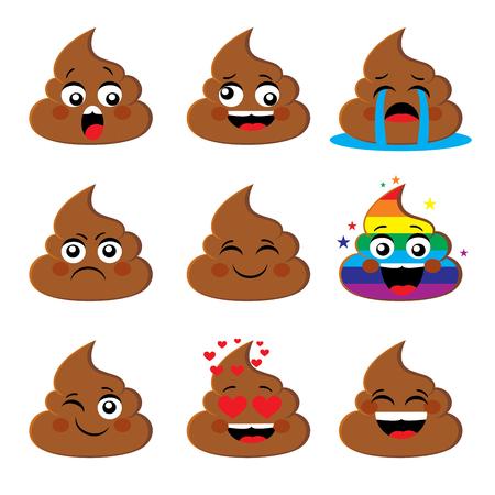 Zestaw ikon poo shit emoji z różnymi wyrazami twarzy Poop emotikony Uśmieszki wektorowe kolekcji. Emocje lub emocjonalne poop emocji znaki wektorowe