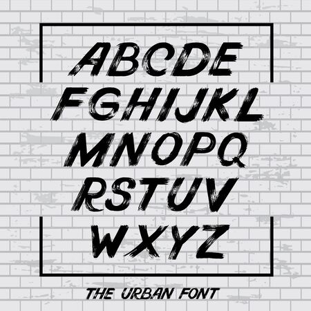 Hand lettering sketch font. Vector alphabet. Grunge letters and numbers vector. Handwritten Urban font Vetores