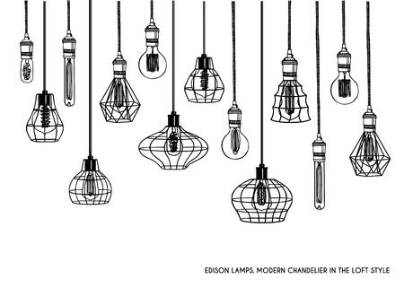 손으로 그려진 된 벡터 다른 형상 로프트 램프 및 철 갓의 벡터 설정. 산업 스타일. 빈티지 샹들리에와 펜 던 트 램프의 집합입니다. 에디슨 전구가 달린 램프. 흑백 이미지