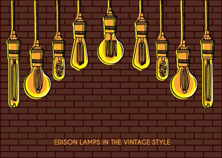 Luxury lighting decoration over the brick wall background. Vintage light bulbs hanging from the ceiling.