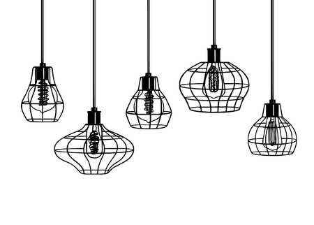 Industrial style retro pendant lights. Set of vintage pendant lamps. Hanging lamp with Edison bulb. Black and White image free hand line style. Hand drawn vector set of different geometric loft lamps Illustration