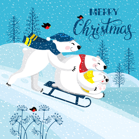 Vector illustration in a cartoon style. A family of funny smiling polar bears. Polar bears on a background of a winter landscape. Merry Christmas greeting card with cute happy cartoon bears