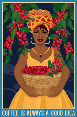 Design of a poster with african woman with a basket of arabica arabica coffee beans. Coffee farmer picking red coffee beans on coffee tree.