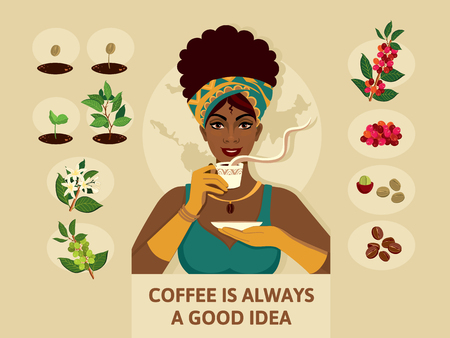 Poster with a woman in an elegant clothes, who holds a cup of coffee. Process of planting and growing a coffee tree and beans. Stylish illustration coffee growing process for interior design or magazine. Illustration