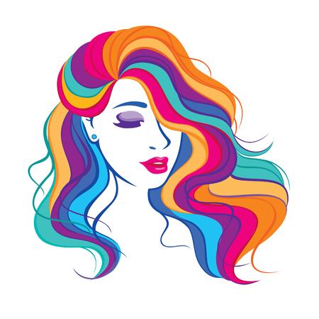 Chica de moda de belleza con colorido cabello largo teñido. Retrato de una bella mujer con un cabello rizado, ilustración de vector de corte de pelo largo y rizado, icono de salón. Ilustración de vector