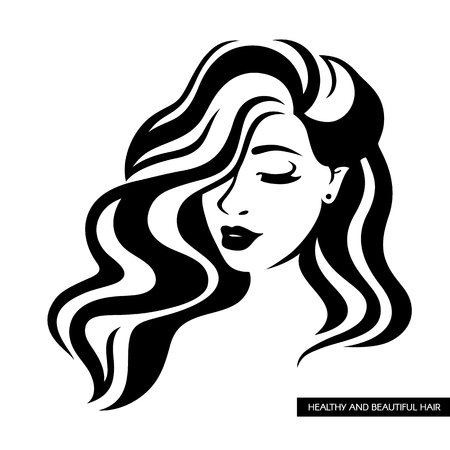 Illustration of women long hair style icon, women face. Face of a girl with long hair, beautiful hairstyle with black curls on a white background vector illustration.