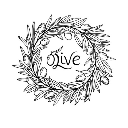 Olive laurel wreath and branch hand drawn sketch vector hand drawn illustration. Leave and berry round frame isolated on white background. Design for menu, wedding invitation or greeting card