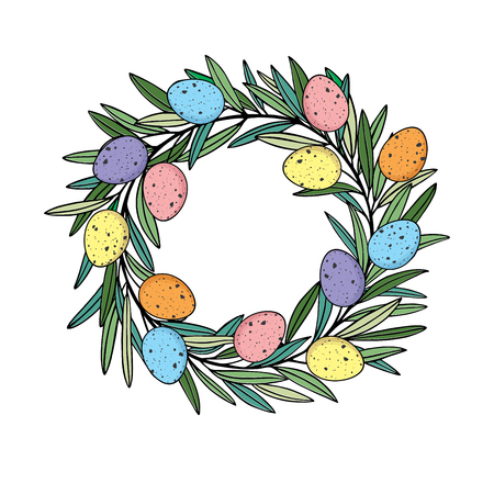 Easter wreath with colororful quail eggs hand drawn black on white background. Frame from Easter eggs and olive wreath. Easter eggs in circle shape.