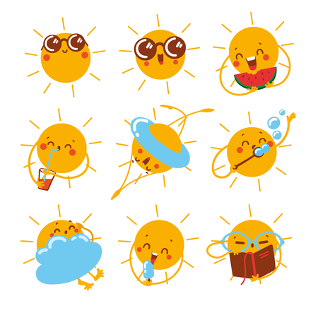 Vector set icon with different emotions of the sun.