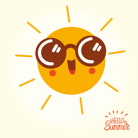 Summer sun face with sunglasses and happy smile.