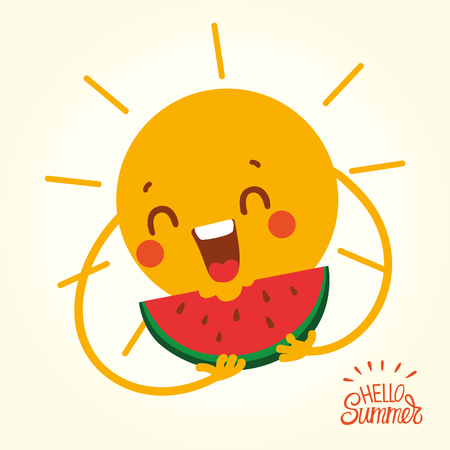 Happy Summer Sun Face with slice of watermelon