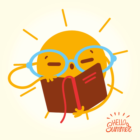 Happy Summer Sun Face open books and reading. Drawing cartoon Sun in glasses readung book on vacation.