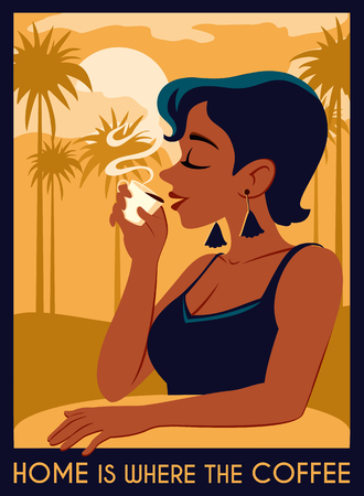 Poster with a young beautiful woman in vacation, who drinks coffee. Stylish summer illustration with view clouds, sun, mountains and palm trees 向量圖像