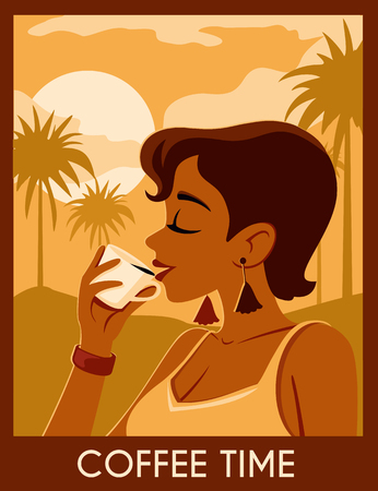 Coffee retro background, poster, card. Young woman has a rest under palm trees and enjoys a cup of coffe. Beautiful summer view with clouds, sun, mountains and palm trees