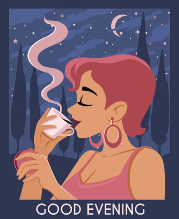 Good evening poster with a young woman drinks coffee and eat macaron. Illustration with night landscape Italy: stars, moon, clouds, mountains