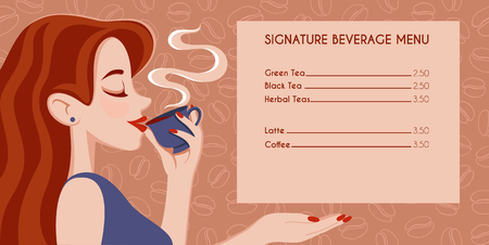 Cafe menu design. Beautiful Girl Drinking Tea or Coffee on background coffee beans pattern. Beauty cartoon Woman with the Cup of Hot Beverage. Warm Colors (Vector Art)