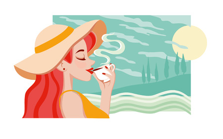 Summer Holiday poster with young positive female in summer sun hat. Beautiful young girl that was enjoying a cup of coffee or tea. Relax travel time 向量圖像