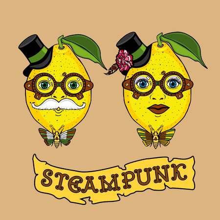 Hand drawing creative design with mister and miss Lemon in the steampunk style. It can be used for interior design and twin shirts. Cartoon retro lemon for label, illustration and posters