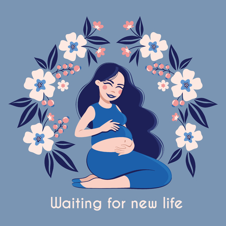 Happy pregnant Woman Feeling her Baby. Waiting for new life. Vector illustration with expectant mother in frame with flowers. Motherhood. Happy Mothers Day poster
